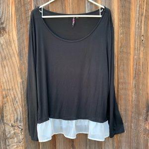 Women's plus size black long sleeves blouse
